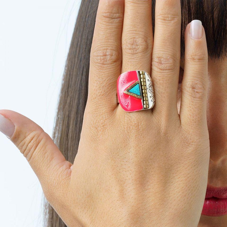Bague Africa Pop Couleur Argent Rose Taratata Bijoux Fantaisie en ligne 2