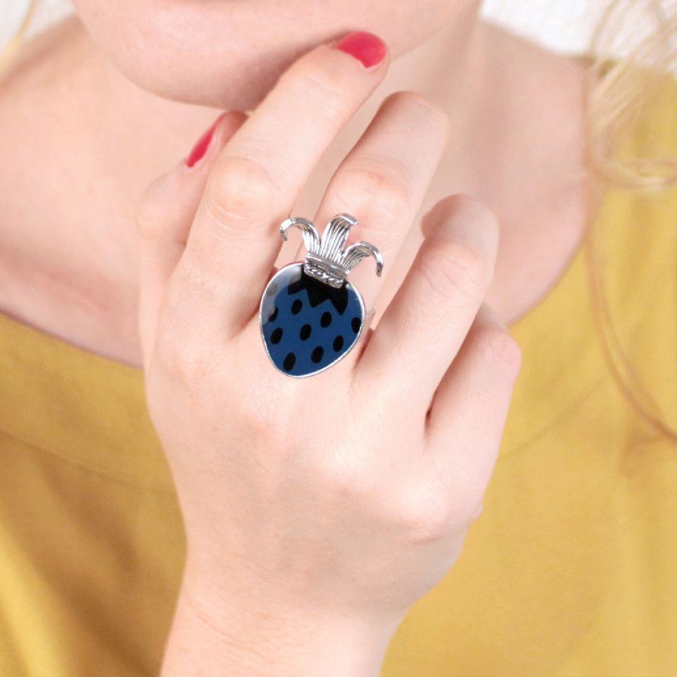 Bague Bigarreau Argent Bleu Taratata Bijoux Fantaisie en ligne 1