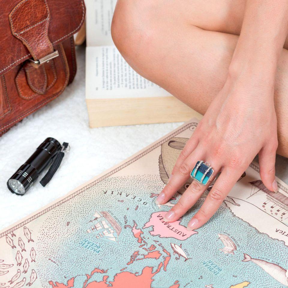 Bague Bon Voyage Argent Bleu Taratata Bijoux Fantaisie en ligne 2
