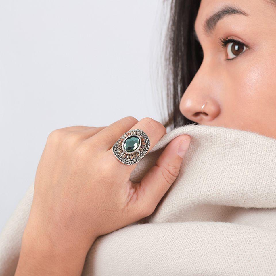 Bague Ce Soir Argent Vert Taratata Bijoux Fantaisie en ligne 1