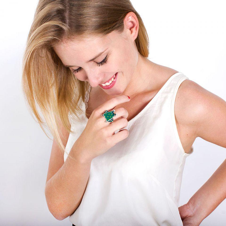 Bague Claquette Argent Vert Taratata Bijoux Fantaisie en ligne 2