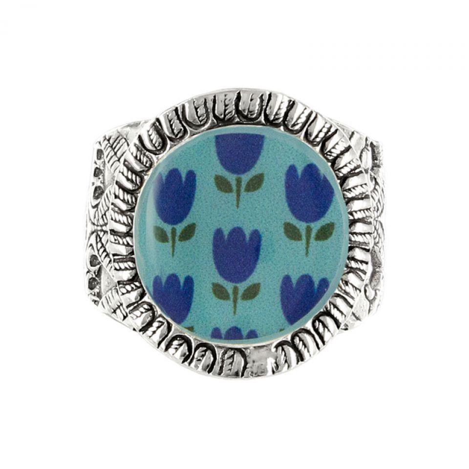 Bague Colette Argent Bleu Taratata Bijoux Fantaisie en ligne 1