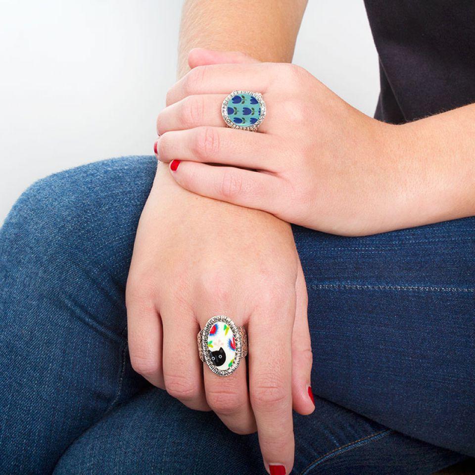 Bague Colette Argent Bleu Taratata Bijoux Fantaisie en ligne 2