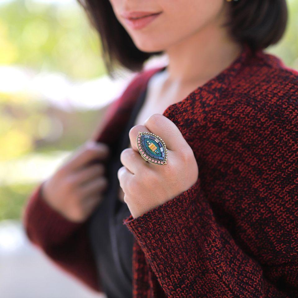 Bague Coquetterie Bronze Bleu Taratata Bijoux Fantaisie en ligne 2