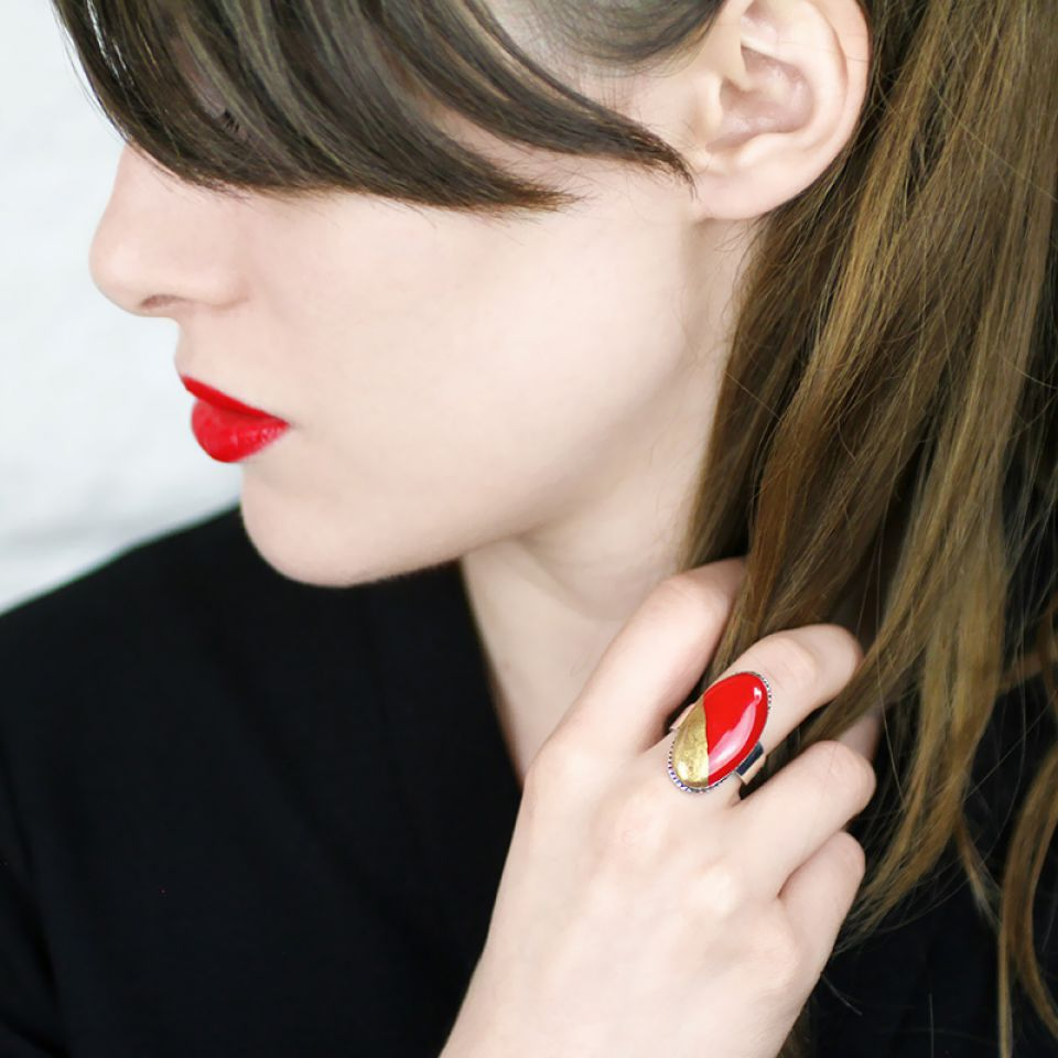 Bague Dressing Argent Rouge Taratata Bijoux Fantaisie en ligne 3