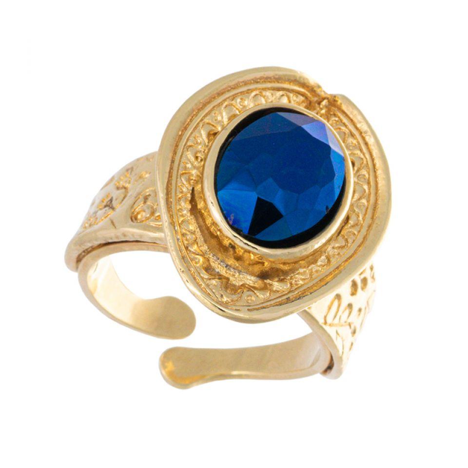Bague Emeraude Dore Bleu Taratata Bijoux Fantaisie en ligne 1