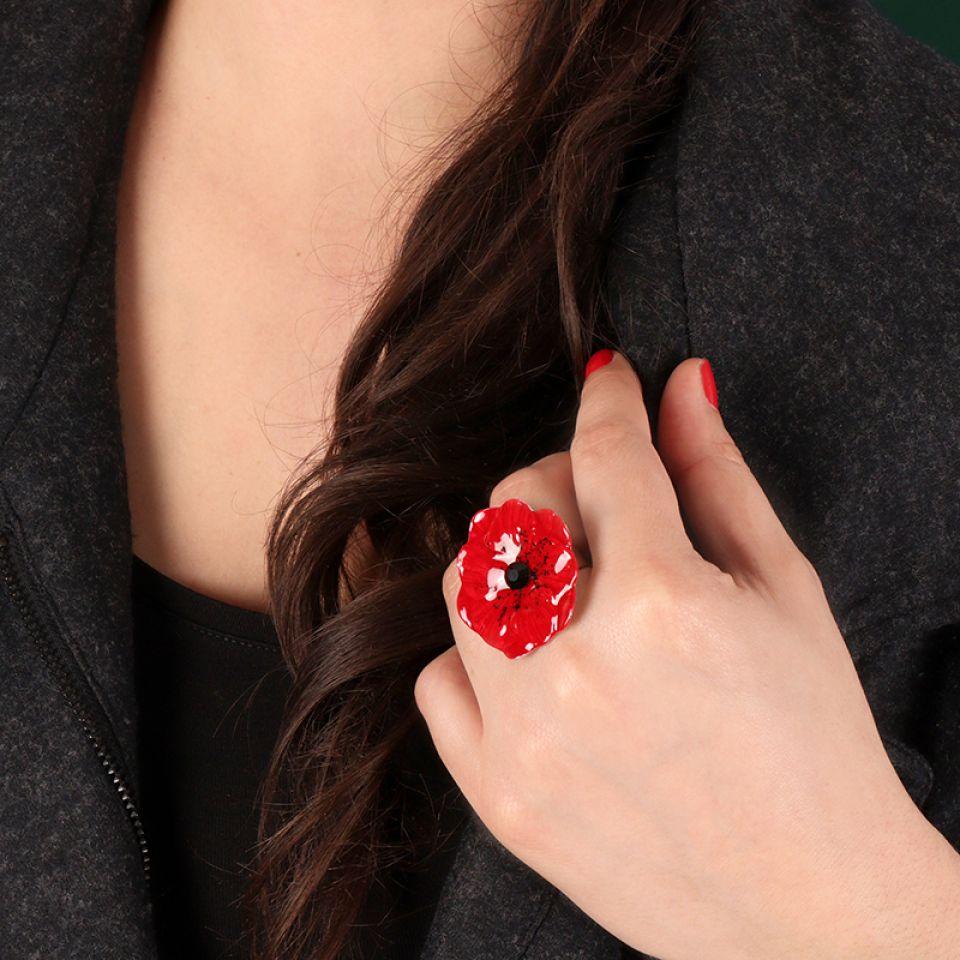 Bague  Joli Coquelicot Couleur Argent Rouge Taratata Bijoux Fantaisie en ligne 2