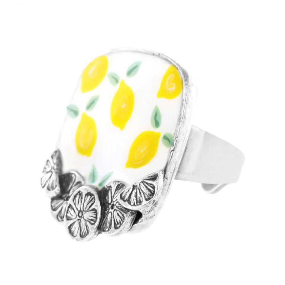 Bague Lemon Argent Jaune Taratata Bijoux Fantaisie en ligne 1