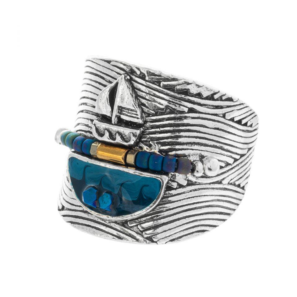 Bague Longue-vue Argente Bleu Taratata Bijoux Fantaisie en ligne 1