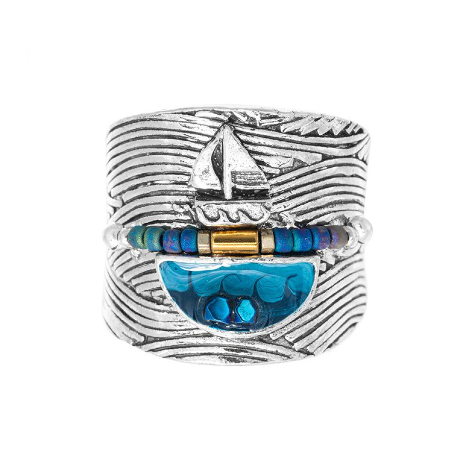 Bague Longue-vue Argente Bleu Taratata Bijoux Fantaisie en ligne 3