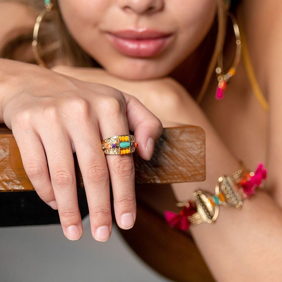 Bague Marie-rose Dore Multi Taratata Bijoux Fantaisie en ligne 2
