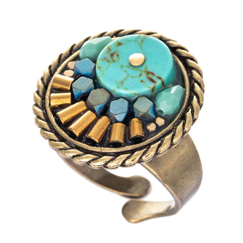 Bague Sombrero Bronze Bleu Taratata Bijoux Fantaisie en ligne 1