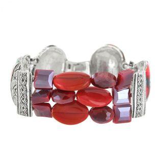 Bracelet Amarena Argent Rouge