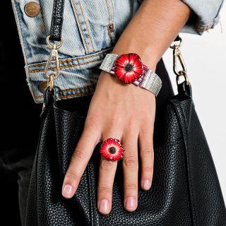 Bracelet Belle A Croquer Argent Rouge