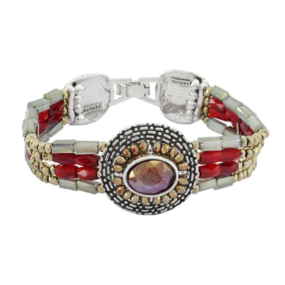 Bracelet Ce Soir Argent Rouge Taratata Bijoux Fantaisie en ligne 1