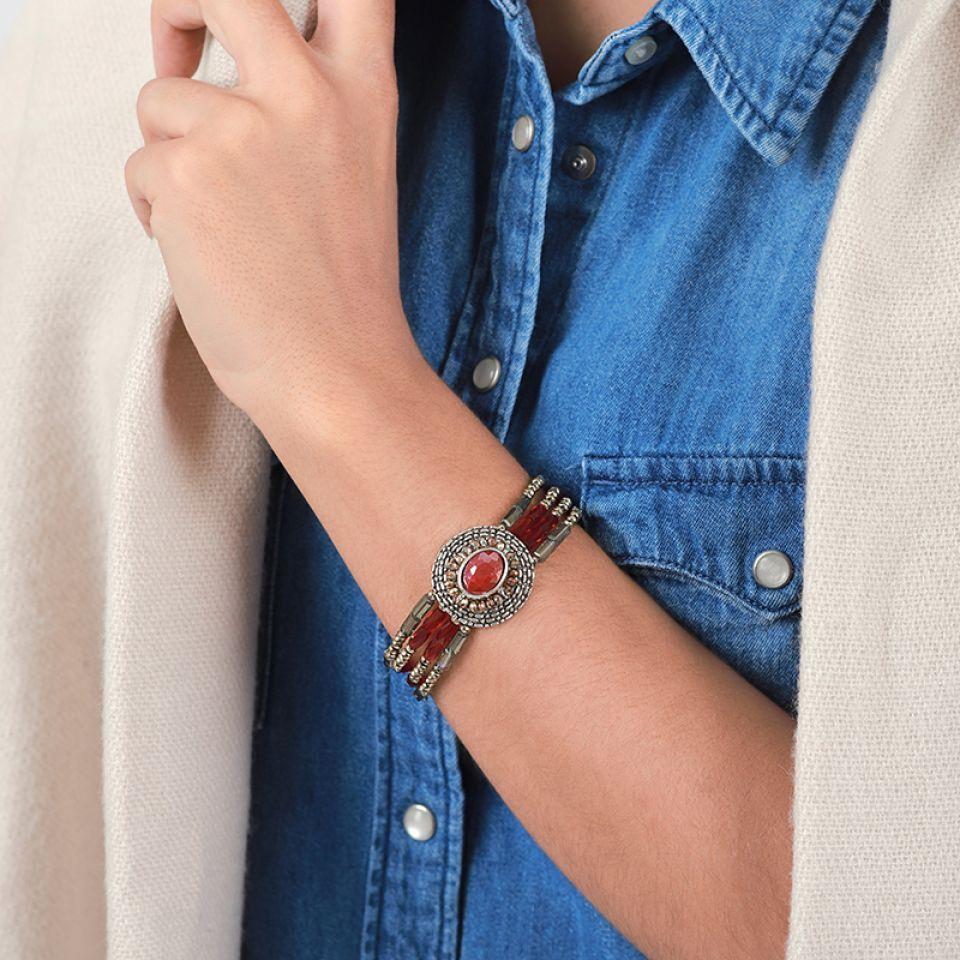Bracelet Ce Soir Argent Rouge Taratata Bijoux Fantaisie en ligne 2
