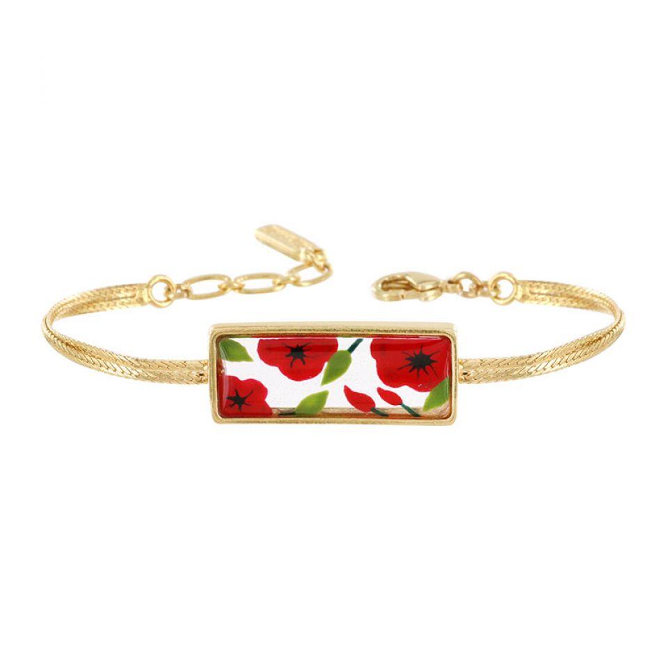 Bracelet Galerie Couleur Dore Rouge Taratata Bijoux Fantaisie en ligne 1