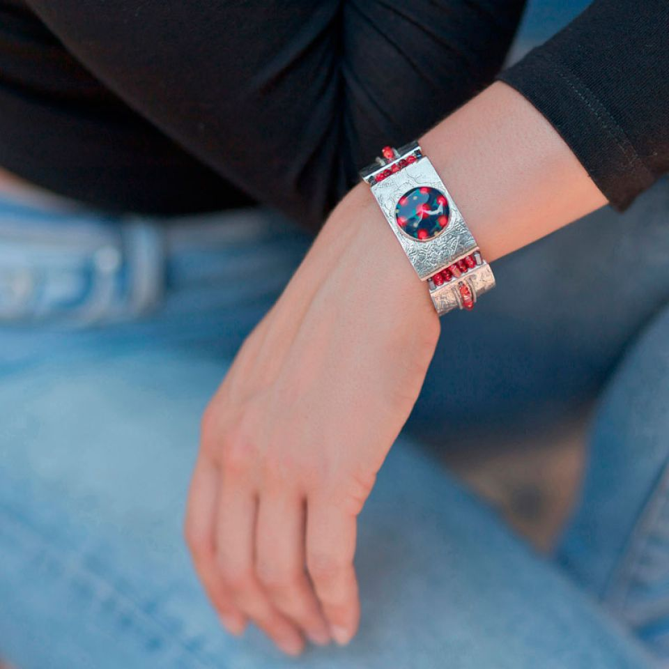 Bracelet Grenadine Argent Rouge Taratata Bijoux Fantaisie en ligne 1