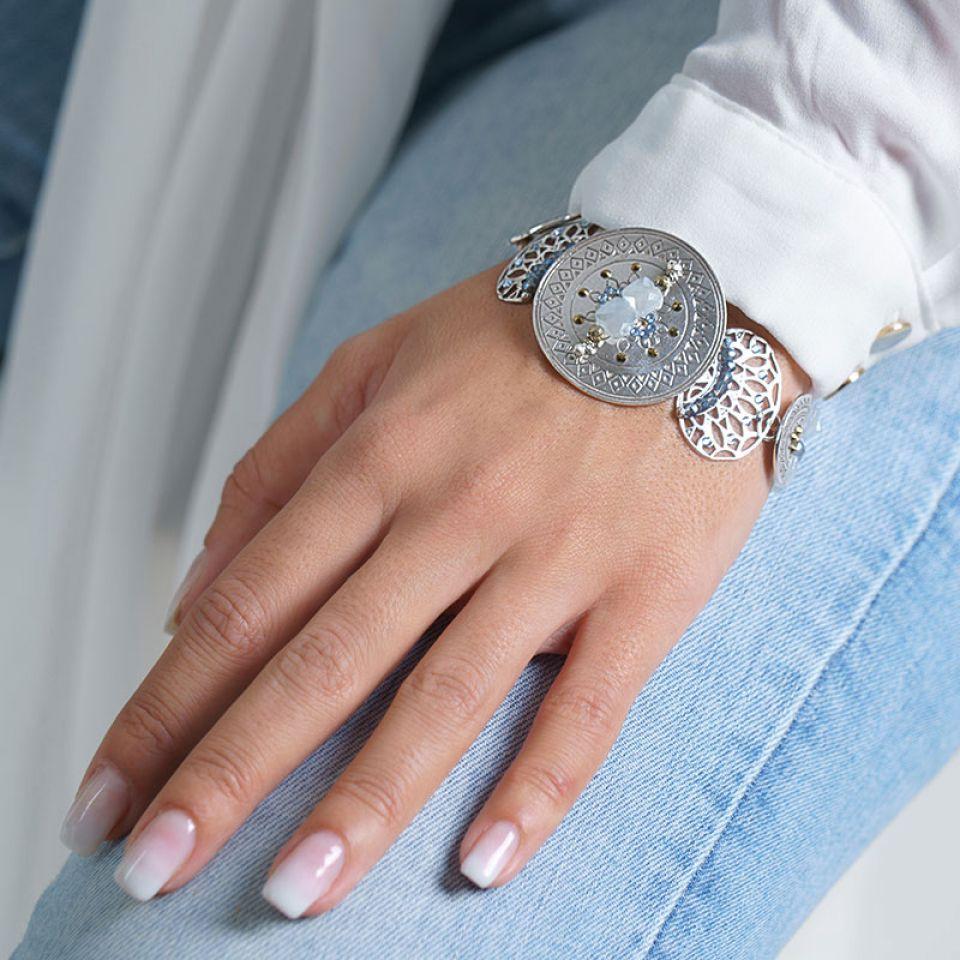 Bracelet Jivago Couleur Argent Bleu Taratata Bijoux Fantaisie en ligne 2