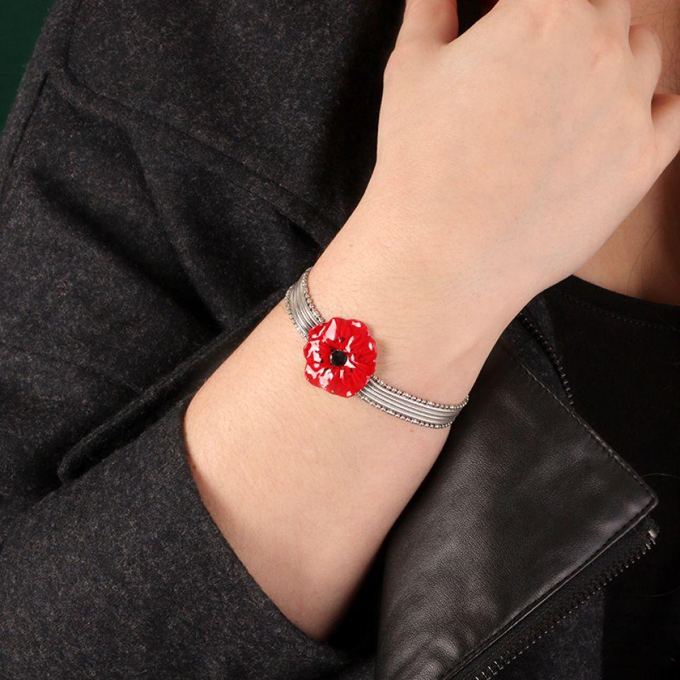 Bracelet  Joli Coquelicot Couleur Argent Rouge Taratata Bijoux Fantaisie en ligne 2