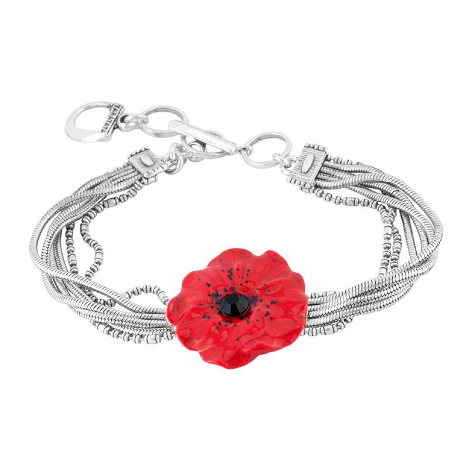 Bracelet  Joli Coquelicot Couleur Argent Rouge Taratata Bijoux Fantaisie en ligne 3