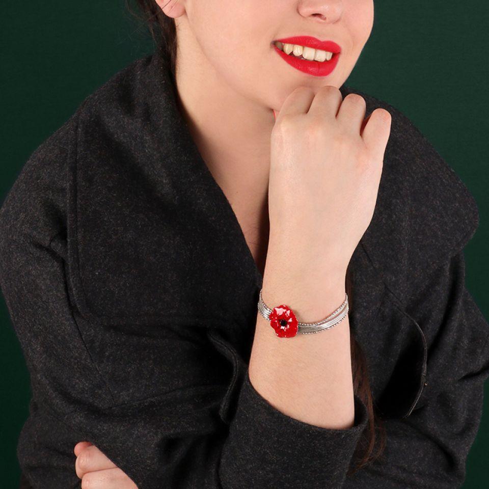 Bracelet  Joli Coquelicot Couleur Argent Rouge Taratata Bijoux Fantaisie en ligne 4