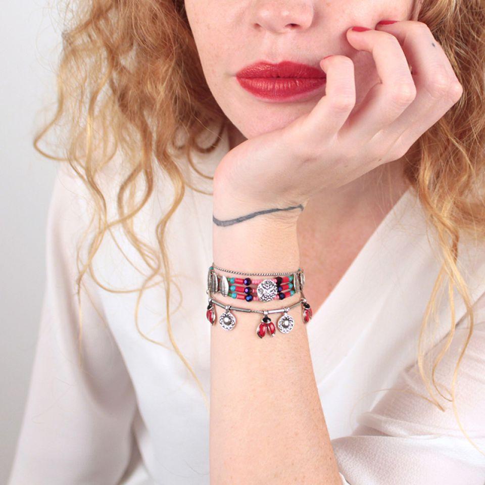 Bracelet Ladybird Argent Rouge Taratata Bijoux Fantaisie en ligne 1