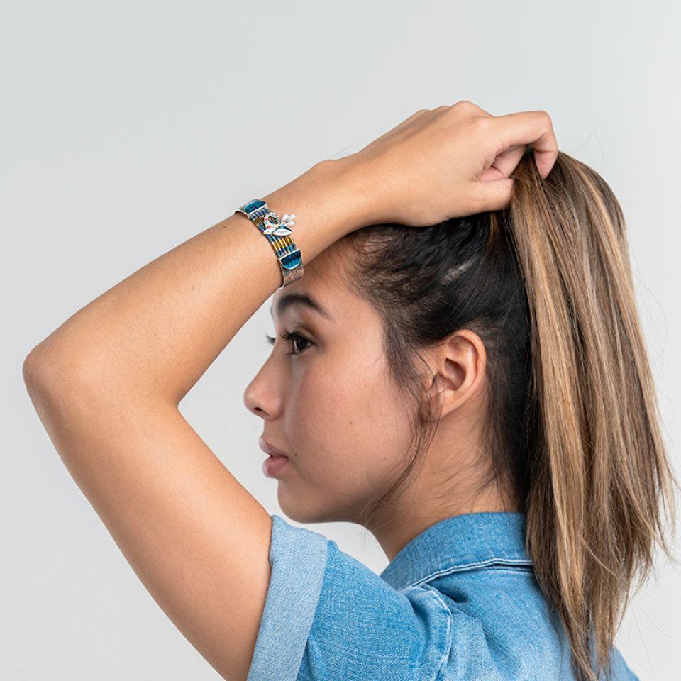 Bracelet Longue-vue Argente Bleu Taratata Bijoux Fantaisie en ligne 2