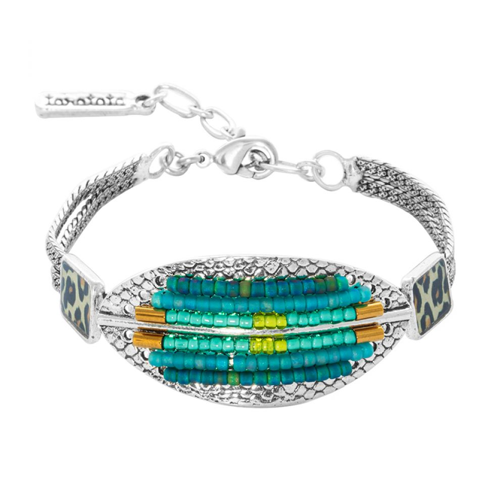 Bracelet Panthere Bleue Argente Turquoise Taratata Bijoux Fantaisie en ligne 1