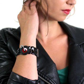 Bracelet Platine Argent Rouge