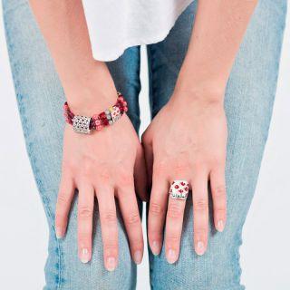 Bracelet Ravissante Argent Rouge