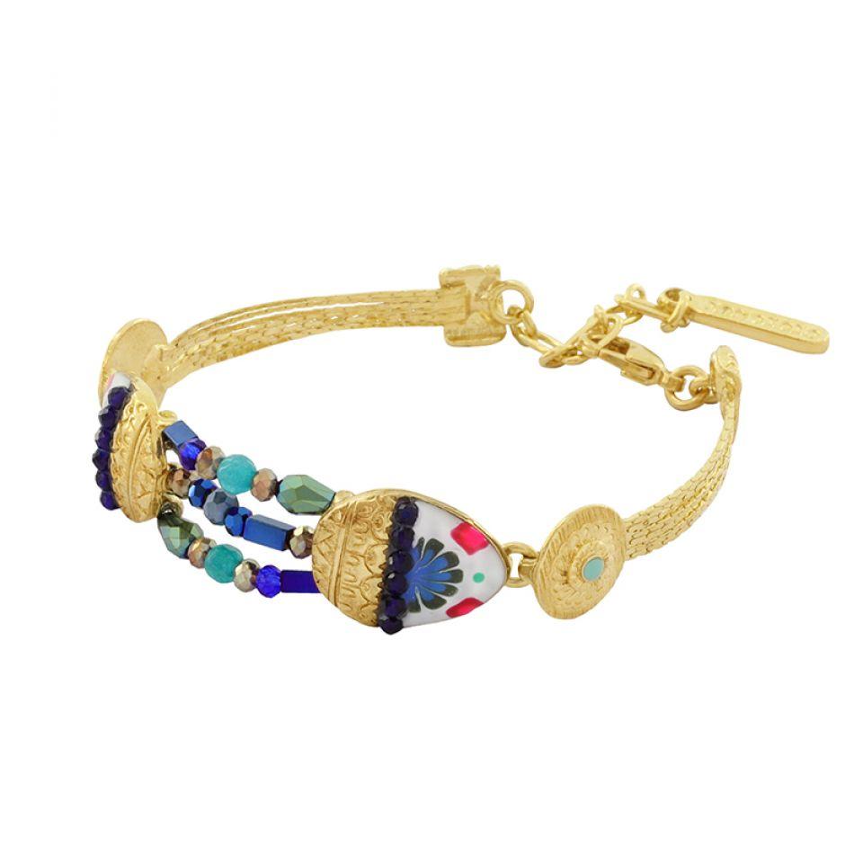 Bracelet Romeo Dore Bleu Taratata Bijoux Fantaisie en ligne 3