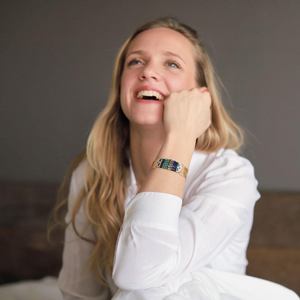 Bracelet Romeo Dore Bleu Taratata Bijoux Fantaisie en ligne 1