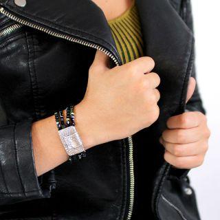 Bracelet Saturne Argent Noir