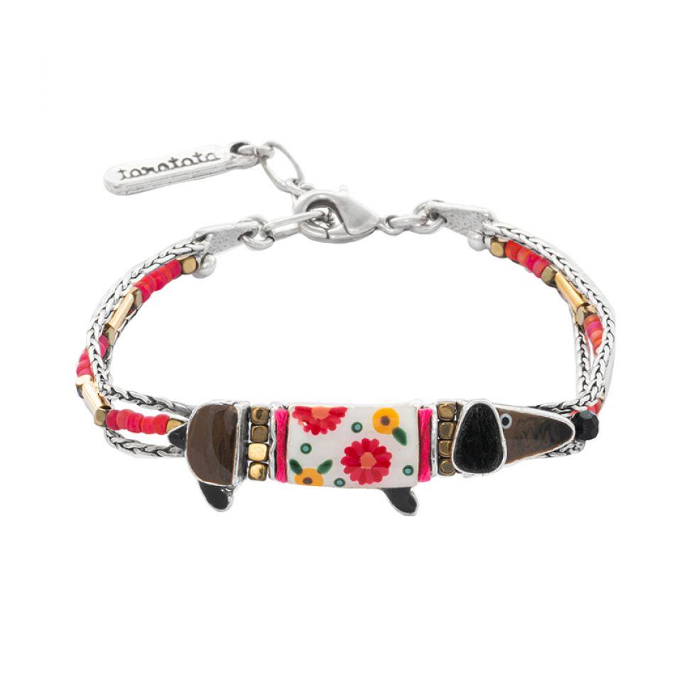 Bracelet Saucisse Argente Rouge Taratata Bijoux Fantaisie en ligne 1