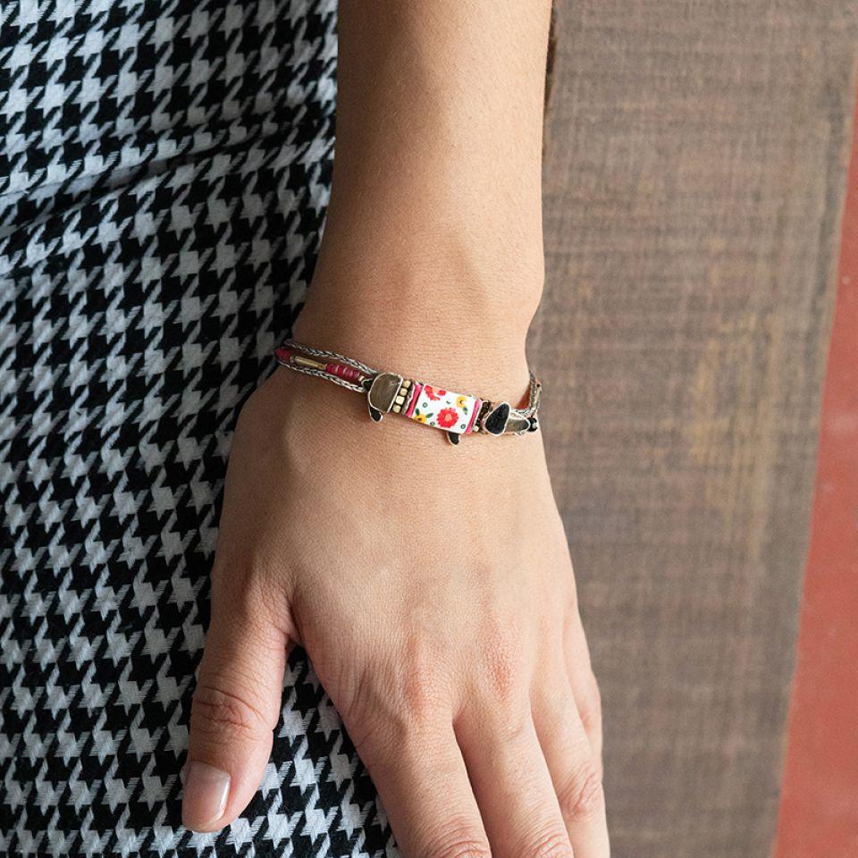 Bracelet Saucisse Argente Rouge Taratata Bijoux Fantaisie en ligne 2