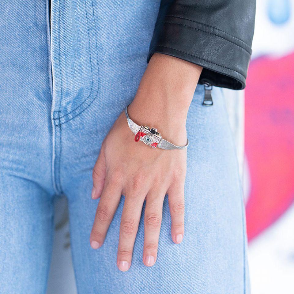 Bracelet Souriez Argente Rouge Taratata Bijoux Fantaisie en ligne 2
