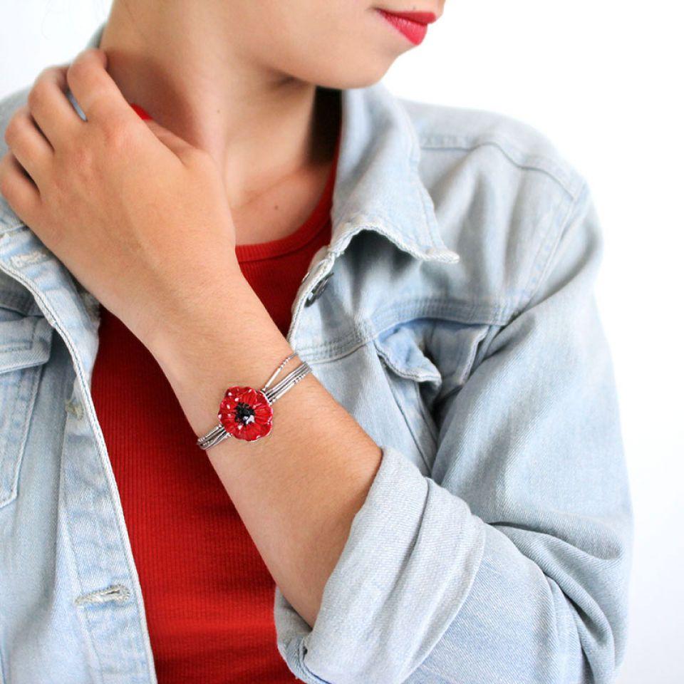 Bracelet Coquelicot Argente Rouge Taratata Bijoux Fantaisie en ligne 2