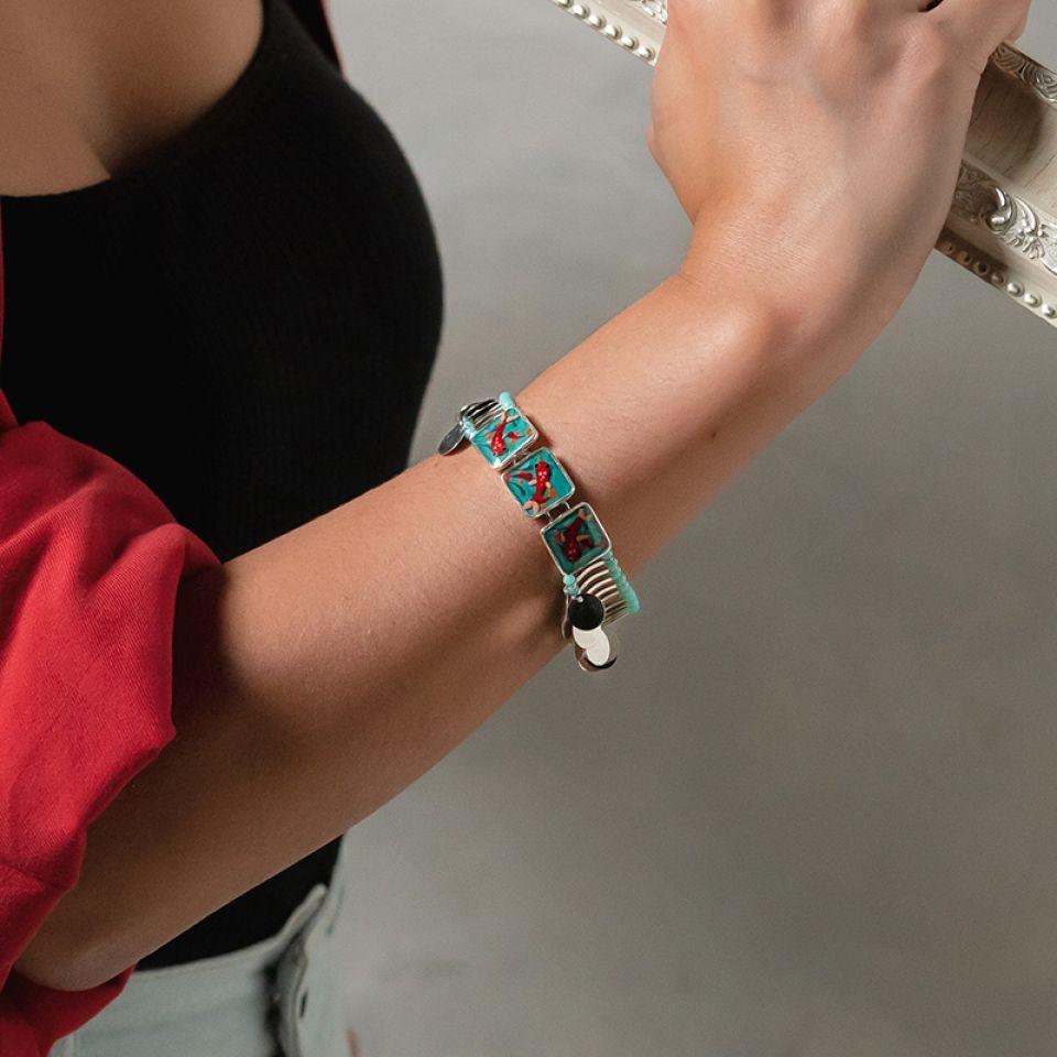 Bracelet Zigzag Argente Bleu Taratata Bijoux Fantaisie en ligne 4