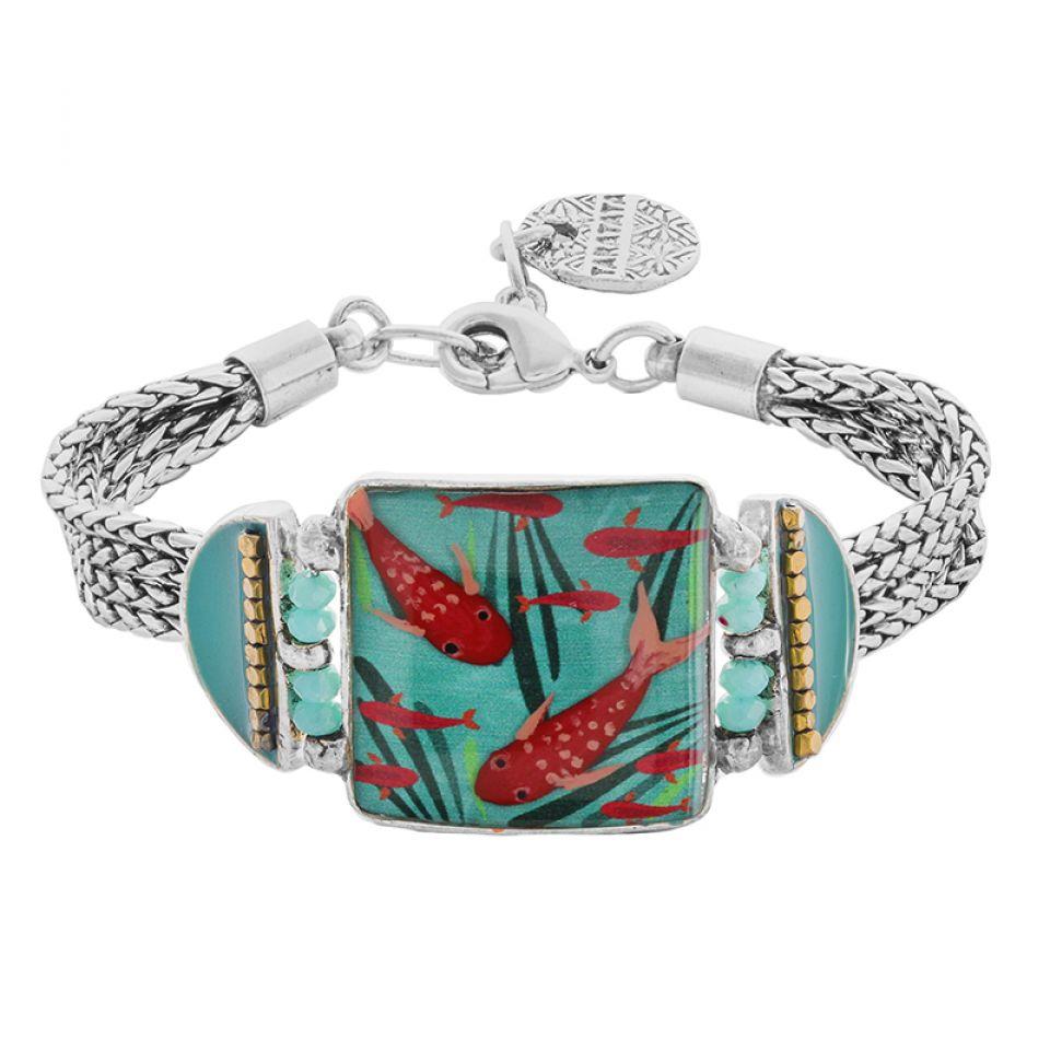 Bracelet Zigzag Argente Bleu Taratata Bijoux Fantaisie en ligne 1