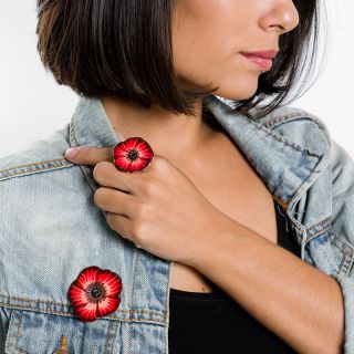 Broche Belle A Croquer Argent Rouge