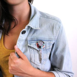 Broche Chinchilla Argent Multi
