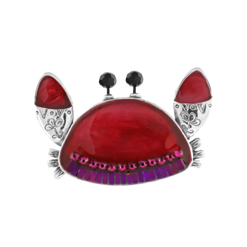 Broche Corail Argent Rouge Taratata Bijoux Fantaisie en ligne 1