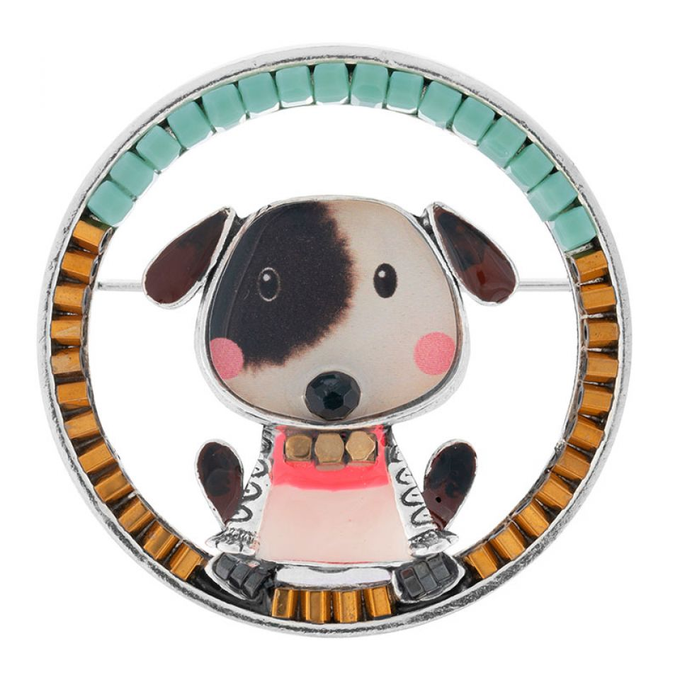 Broche Puppy Couleur Argent Blanc Taratata Bijoux Fantaisie en ligne 2