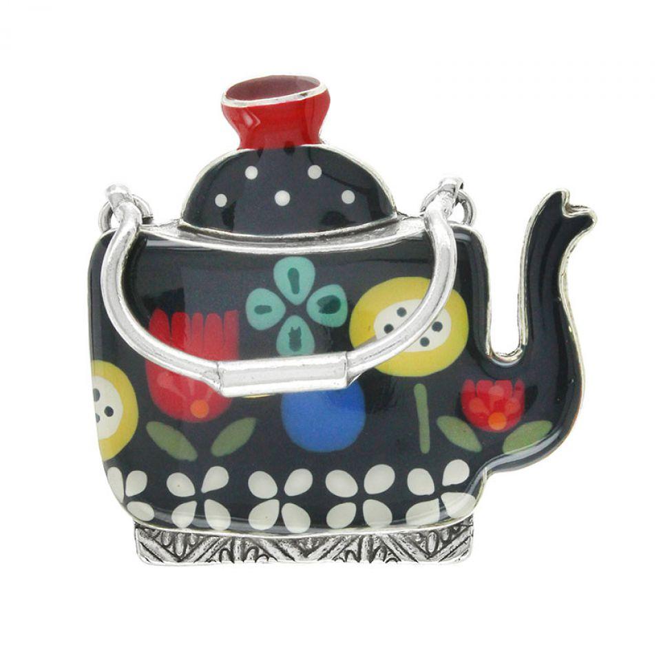 Broche Tea For Two Argent Multi Taratata Bijoux Fantaisie en ligne 1