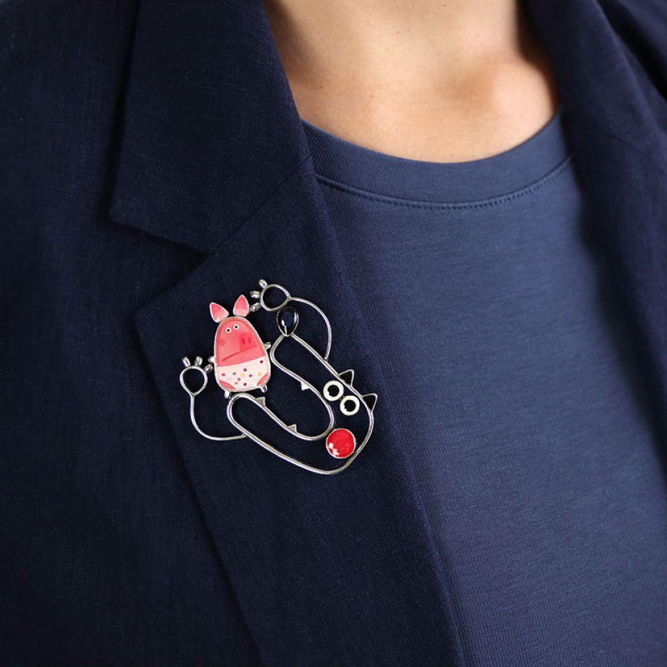 Broche Temps De Cochon Couleur Argent Rose Taratata Bijoux Fantaisie en ligne 1