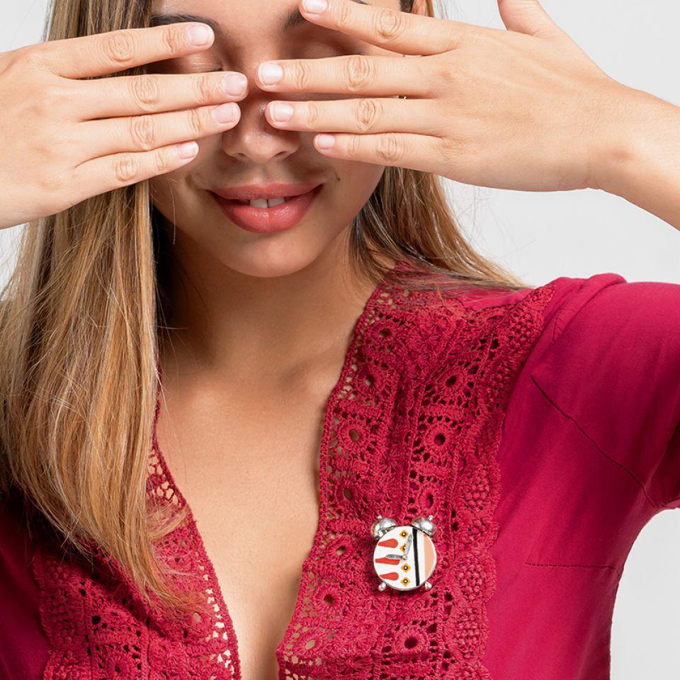 Broche Wake Up! Argente Rose Taratata Bijoux Fantaisie en ligne 2