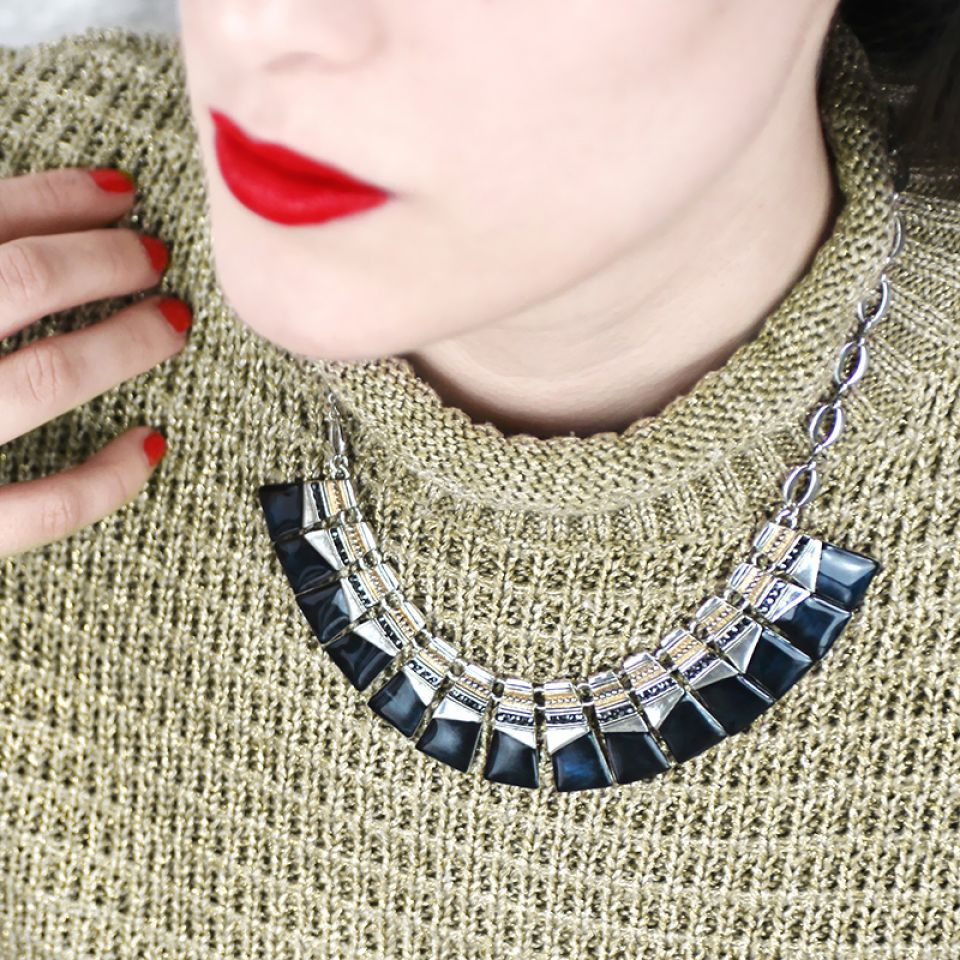 Collier Audrey Argent Bleu Taratata Bijoux Fantaisie en ligne 2