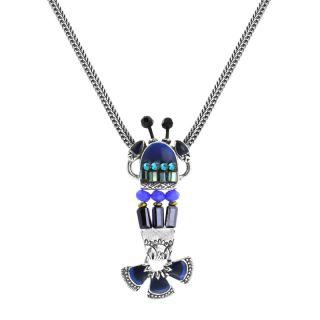 Collier Corail Argent Bleu