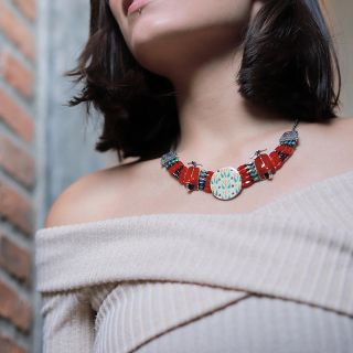 Collier Gina Argent Rouge